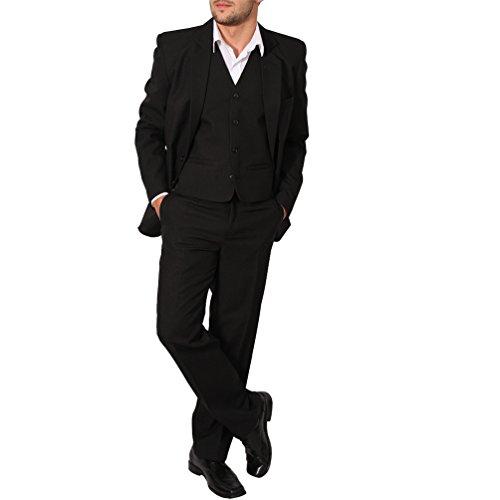 Candygirls Regular Herren Anzug 3Teiler Sakko Hose Weste Büro Business Hochzeit H10 (64, Schwarz)