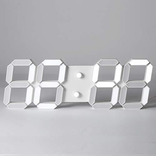 Reloj de alarma digital LED 3D, reloj de pared, reloj digital, Reloj de escritorio de mesa LED, escritorio de pared Brillo de temporizador Ajustable Nightlight Calendario Termómetro Hora de exhibición