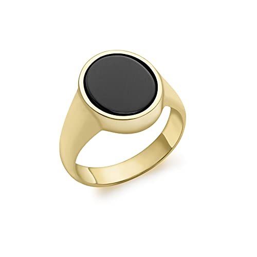 Carissima Gold Unisex 9ct Yellow Gold Onyx 12mm x 13.5mm Oval Signet Ring #V