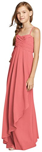 Spaghetti Strap Dress with Side Cascade Ruffle Style JB9012, Coral Reef, 14