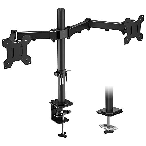 BONTEC Soporte Monitor Doble para 15-27 Pulgadas LED/LCD, Brazo Monitor para Soporte Monitor en Mesa, Giro de 360° y Rotación de 180° Altura Ajustable 8 KG, VESA 75x75/100x100 Negro