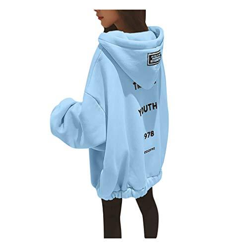 Lazzboy Kapuzenpullover Frauen Lose Large Zipper Letter Print Verdickung Sweater Damen Lange Ärmel Hoodie Pullover Frauen Mantel Jacke Lang Kapuzenpullis Pulli(Blau,3XL)