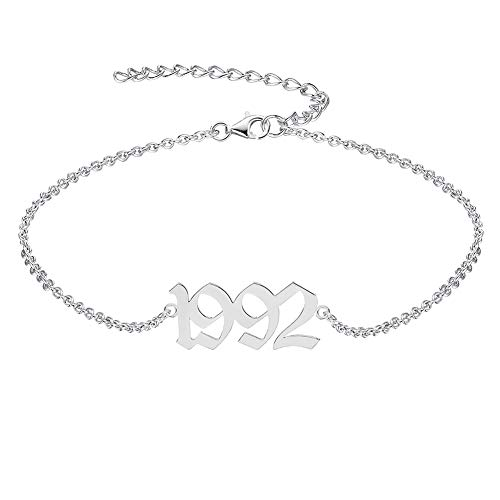 QJLE Birth Year Silver Anklets for Women Teen girls,dainty bench ankle bracelet for women adjustable chain foot jewerly birthday gifts (1992)
