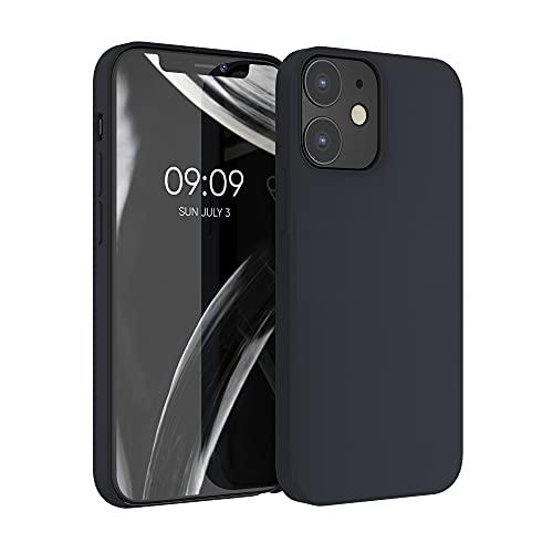 kwmobile TPU silikonfodral kompatibelt med Apple iPhone 12/12 Pro – fodral smalt skyddande telefonfodral med mjuk finish – blåbär