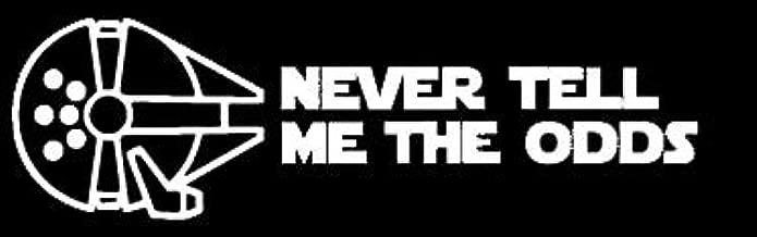 LLI Star Wars Never Tell Me The Odds | Decal Vinyl Sticker | Cars Trucks Vans Walls Laptop | White | 5.5 x 1.7 in | LLI1310