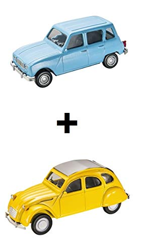 Mondo Motors Set of 2 1/43 Cars: Renault 4 Blue + Citroen 2CV Yellow (Ref: MV4)
