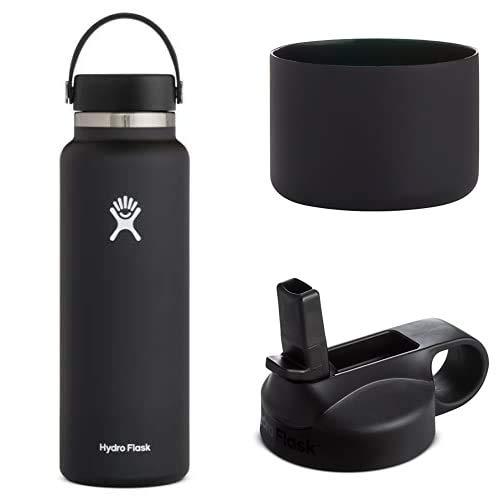 Hydro Flask Trinkflasche, Edelstahl und vakuumisoliert, große Öffnung mit auslaufsicherer Flex Cap, schwarz, 1180ml + Silikon-Flex Boot, schwarz, Mittel+ Trinkhalmdeckel mit großer Öffnung, schwarz