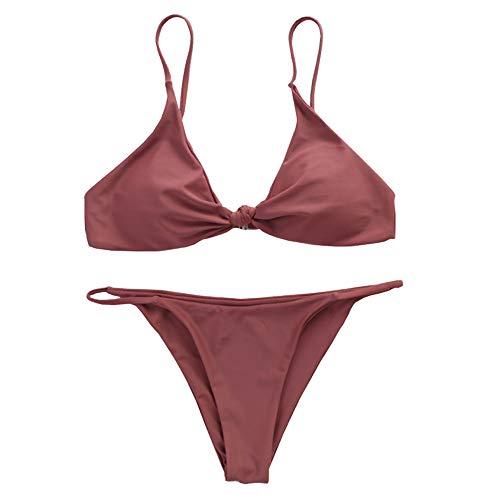 E-girl E020 - Conjunto de bikini para mujer (espalda descubierta) rojo 38