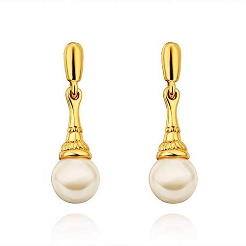 TIANYOU Environmentally Friendly Rose Gold Pearl Drop Earrings Ms./Stainless Steel/Hypoallergenic/Silver Sparkle/Small Delicate/Pearl Earrings Fashion Wild/B/Seductive