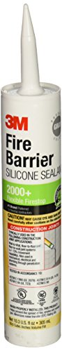 3M Fire Barrier Silicone Sealant 2000+, Gray, 10.3 Fl Oz Cartridge (98040052999),Light Gray