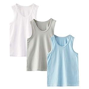 (エイーホ) Ayfoone キッズ タンクトップ 男の子 ボーイズ 子供 ランニングシャツ 綿 3枚組 インナーシャツ 肌着 無地 重ね着 ノースリーブ (男の子, 100CM)