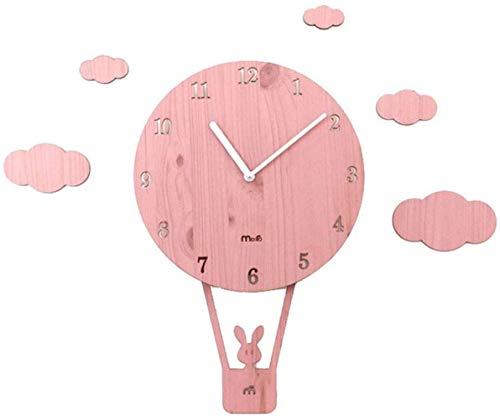 Swing Creative Cartoon Wall Clock Living Room Simple Personality Klokken Slaapkamer van kinderen Mute Cute wandklok (Pink)