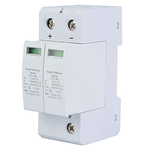 Dispositivo de protección contra sobretensiones 2P 1000V DC PC Retardante de llama Protector fotovoltaico contra rayos Pararrayos de bajo voltaje, instalación con riel de guía estándar (2P 40KA)