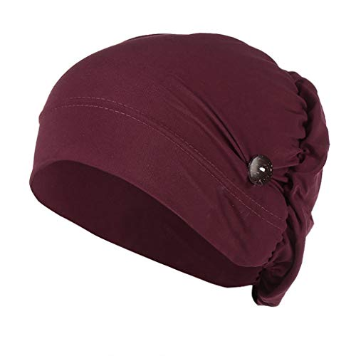 SADUORHAPPY Headbands Hat with Buttons Hat Cover Holder Wearing Protect Ears Head Wrap Hat Hair Bands Reducing Ear Pain Wine