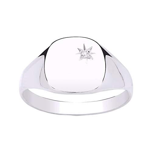 MENS Diamond Set Plain Polished Heavyweight Cushion Square Signet Ring - Engravable - 925 Sterling Silver - Size S