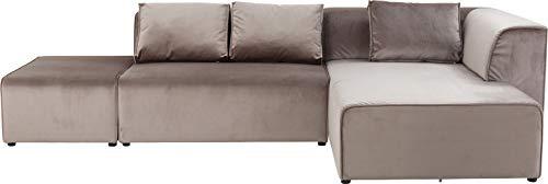 Kare Design Sofa Infinity Velvet Taupe rechts, Polstersofa, Big-Sofa, Loungesofa, Wohnzimmer Couch mit Sofakissen, individuell kombinierbar, (H/B/T) 71x310x185cm