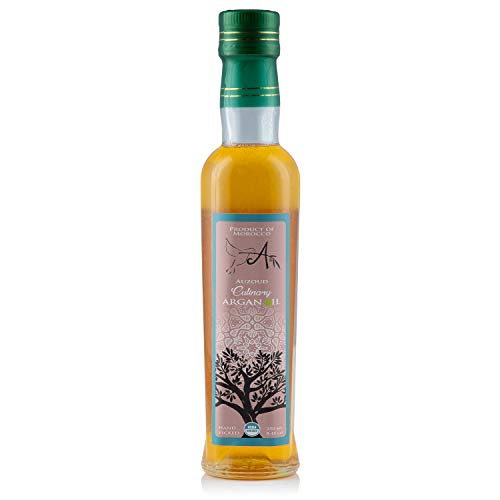 Auzoud Organic Culinary Argan Oil for Cooking, Supports North African Women Farmers, Cultivated on Protected UNESCO World Heritage Site, USDA Certified Organic, Hand-Picked, 8.45 oz (250 ml)