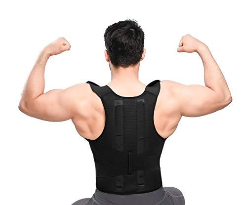 bonvie Corrección espalda plana Postura Soporte corrector de espalda con 2rieles para hombre y mujer para corrección una mala Postura