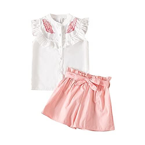 sunnymi Juego de ropa para niños de 1 a 6 años y bebés, con estampado de hojas Rosa. 4-5Años