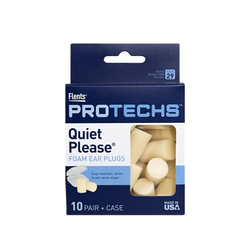 Flents Ear Plugs, 10 Pair with Case, Ear Plugs for Sleeping, Snoring, Loud Noise, Traveling, Concerts, Construction, & Studying, Contour to Ears, NRR 29