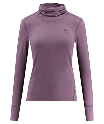 Odlo Dames SUW TOP Turtle Neck l/s NATURAL 100% MERINO Shirt, Vintage Violet-Grey Melange, L