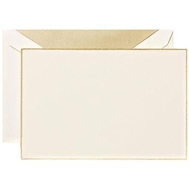 Crane & Co. Gold Hand Bordered Ecruwhite Correspondence Card (CC3303)