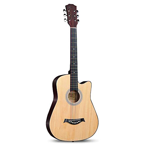 Boll-ATur Anfänger Akustische Gitarre 38 Zoll / 41 Zoll Low Chord Entry Lernen Gitarre Home Teaching Elm Panel Material Guitar Set (Color : 38