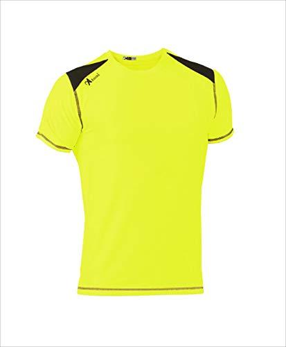 ASIOKA 182/17 Camiseta técnica combinada Unisex para Adultos de m/Corta, Amarillo flúor/Marengo, XXL