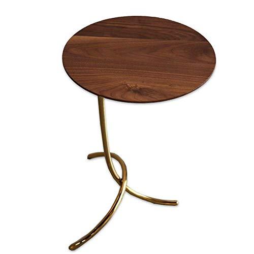 Sofa Beistelltisch, Tische Kleiner hölzerner Couchtisch, runder Walnuss-Beistelltisch, Wohnzimmer-Sofa-Beistelltisch, Telefontische , Unregelmäßige Metallbeine Couchtisch Farbe: Gold + Walnuss, Größe:
