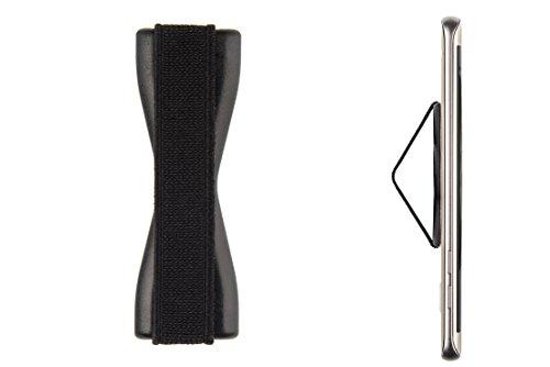 Sling Handyhalterung für Finger/Fingerhalterung Selfie Strap für Smartphone/Mehr Griff, mehr Reichweite und Besser Handy halten durch Feste Schlaufe aus Gummi (schwarz)