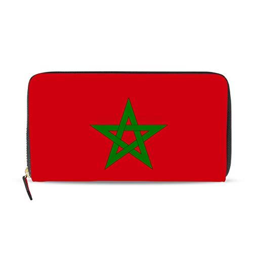 Cartera de cuero con la bandera de Marruecos para mujer, con tarjetero, bolso de mano, regalo para ella