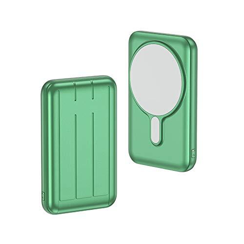 Cargador Inalámbrico Magnético Power Bank 10000mAh Cargador USB C 15W Carga Rápida Batería Externa Portátil para iPhone 12 12 Pro Max (verde)