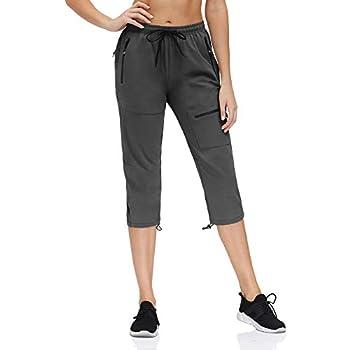 HMIYA Pantalon de Randonnée Trekking léger pour Femme Séchage Rapide UV Protection avec Poches Zippées(Gris foncé Capri,3XL)