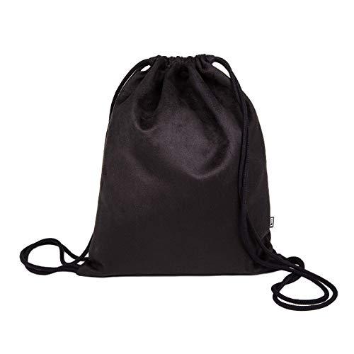 Turnbeutel, Kunstwildleder schwarz gerauht, Rucksack, Sporttasche
