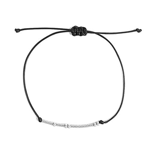 ZJHGQ Pulsera de cuerda ajustable hecha a mano con código morse, regalo inspirador para el mejor amigo