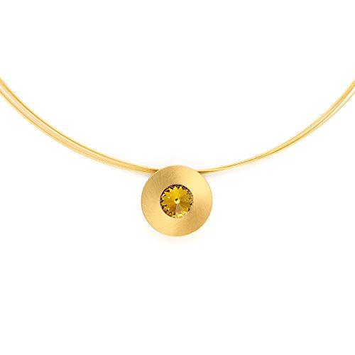 Heideman Halskette Damen Lumen aus Edelstahl gold farbend matt Kette für Frauen mit Swarovski Stein Kristall gelb im Fantasie Edelsteinschliff