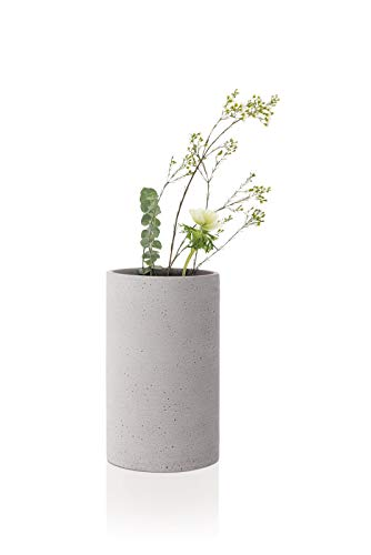 Blomus Coluna Vase, Polystone, hellgrau, H 20 cm, Ø 12 cm