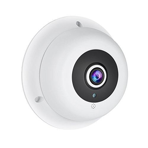 Revotech PoE HD 3MP Audio Ojo de pez IP Cámara H.265 1080P / 2MP para Interior 3 Gama LED panorámico de Visión Nocturna Cámara Seguridad ONVIF P2P CCTV Cámara con IR-Cut (IF04-P-Audio Blanco)