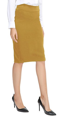 Urban CoCo Women's Elastic Waist Stretch Bodycon Midi Pencil Skirt (XL, Turmeric)