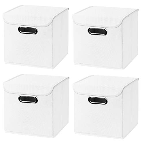 Stick&Shine 4X Aufbewahrungs Korb weiß Faltbox 25 x 25 x 25 cm Regalkorb faltbar, mit Deckel