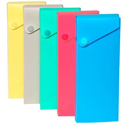 1InTheOffice Sliding Pencil Case Box with Button Snap, Slider Pencil Case, 4 pack