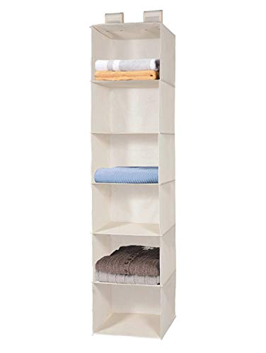 MaidMAX 6-Shelf Fabric Hanging Shelves Organiser Collapsible Wardrobe Storage Shelves Durable Storage Rack Suit for Clothes Sweaters, Beige