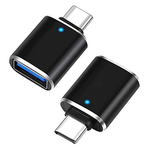 Adaptateur USB C vers USB OTG 3.0 - Adaptateur USB Type C Male vers USB A Femelle Sync Rapide Compatible avec Google Pixel/Chromebook, MacBook Pro, Huawei P20/P30, Galaxy S9/S10, etc [Lot de 2] Noir
