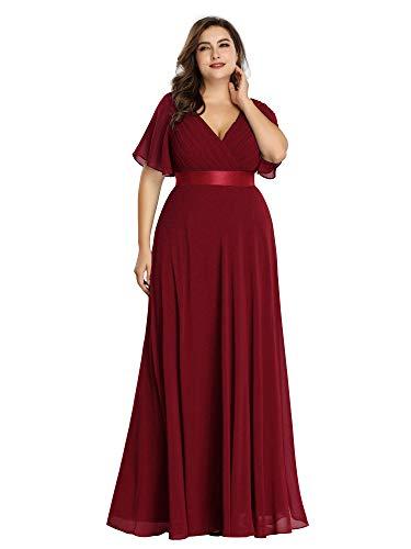 Ever-Pretty Abendkleid, 09890PL, lang, doppelter V-Ausschnitt, kurzärmelig, große Größe, bordeaux, 54
