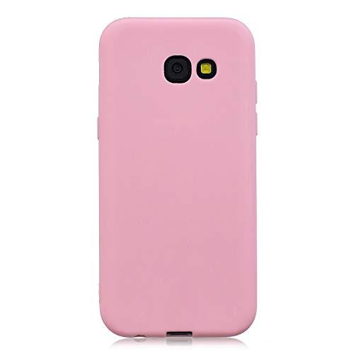 cuzz Funda para Samsung Galaxy A3 2017+{Protector de Pantalla de Vidrio Templado} Carcasa Silicona Suave Gel Rasguño y Resistente Teléfono Móvil Cover-Rosa Oscuro