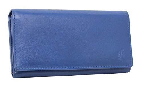 STARHIDE Ladies RFID Blocking Soft Genuine Leather Flap Over Purse Multi Credit Card Slots 5510 Blue