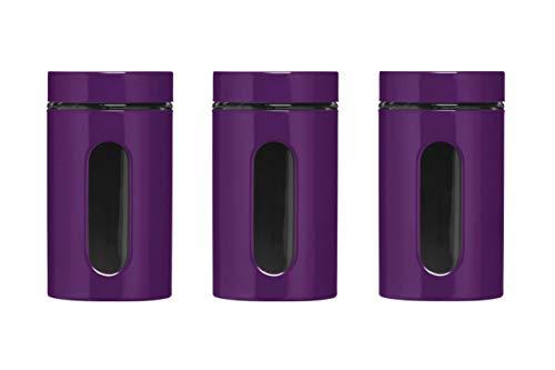 Premier Housewares 1209786 Set de 3 Bocaux de Rangement Acier Email/Verre Violet 1000ml