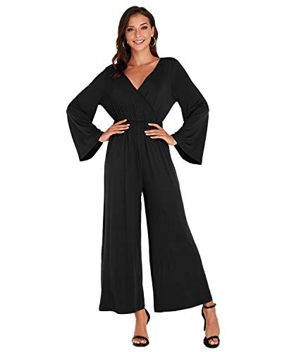VONDA Damen Jumpsuit Langarm Jumpsuits V-Ausschnitt Overalls Hohe Taille Rückenfrei Herbst Playsuit A-Schwarz M