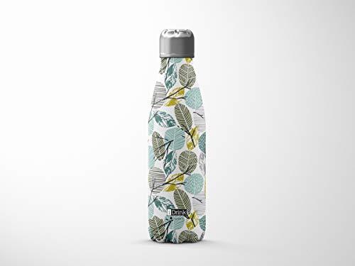 i-Drink Botella de doble pared acero, térmica, con diseño Leaves