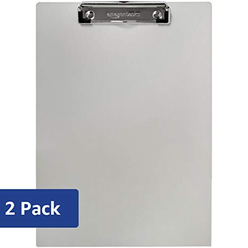 AmazonBasics Aluminum Office Clipboard, Letter Size, Pack of 2